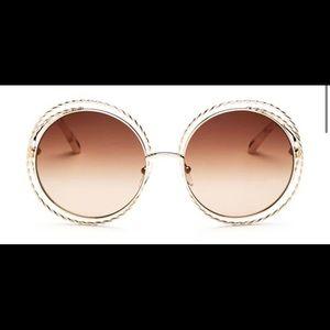Chloé Carlina Torsade Oversized Round Sunglasses